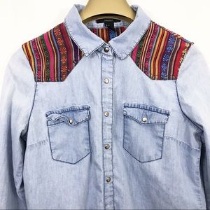 Forever 21 Shirt Western Style Snap Button Shirt